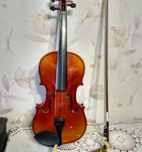 Скрипка в чехле + мостик