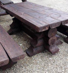 Комплект мебели из оцилиндрованного бревна