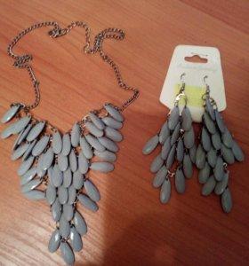 Бижутерия: ожерелье с серьгами