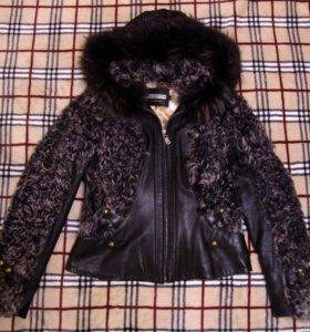 Куртка из меха козлёнка комбинированная с кожей