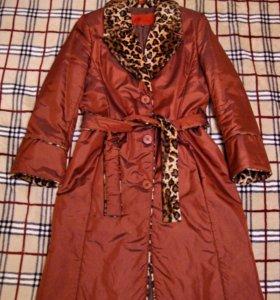 Пальто из плащевой ткани на синтепоне цв. терракот