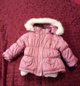 Куртка зимняя, для девочек 2-4лет