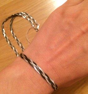 Браслет и цепь серебряные