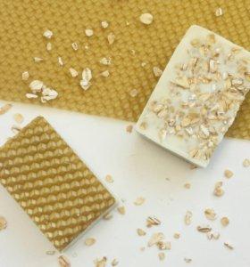 Мыло-скраб с овсянкой, мёдом и вощиной
