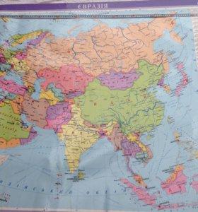 Карта Евразии настенная