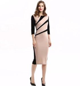 Женское платье розовый с черным