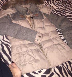 Куртка коричневая. Размер s. Синтепон.