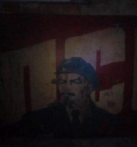 Картина Маслом по фанере.ленин