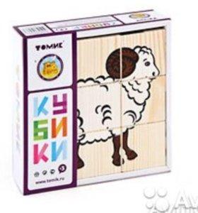 Деревянные кубики ТОМИК, обмен.