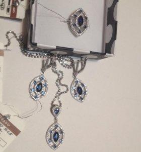Изумительный комплект  серебро с церконам и сапфир