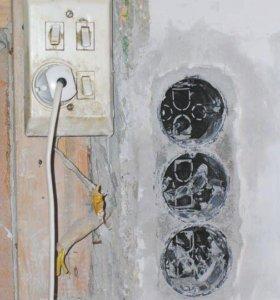 Электрик, замена розеток и выключателей.