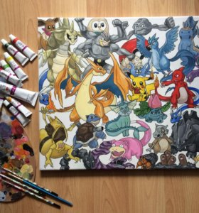 """Картина акрилом """"Pokemon Go"""""""