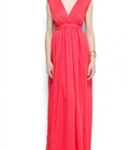 Красивое коралловое платье в пол