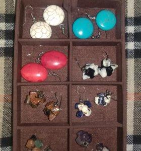 Серьги. Серебро+натуральные камни.