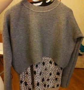 Укороченный свитер пуловер серый. 40,42,44 разм.