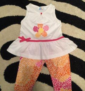 Комплект лосины и блузка на девочку 12-24мес