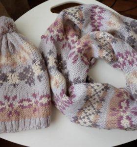 Новый женский набор шапка и шарф (снуд /хомут)