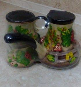 Набор глиняный (турка и 2 чашки)