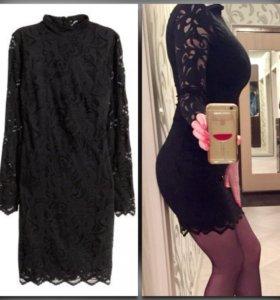Новое чёрное кружевное платье H&M