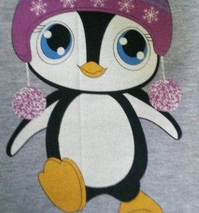 Джемпер теплый с пингвином новый