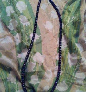 Бусы из черно-фиолетового жемчуга
