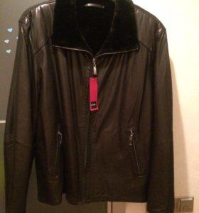 Новая кожаная куртка зимняя hiperbol 62 оазмер