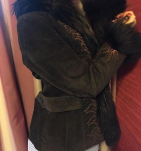 Замшевая куртка с натуральным мехом