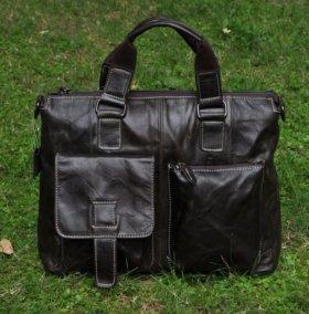 Мужская кожаная сумка портфель с ручками поясом