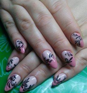 Наращивание ногтей и покрытие шеллак