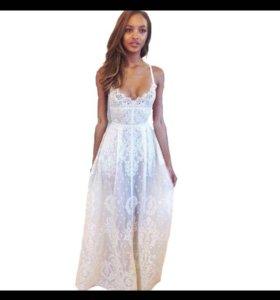 Платье кружевное белое длинное прозрачное