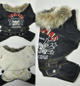 Зимний джинсовый комбинезон, р. XL