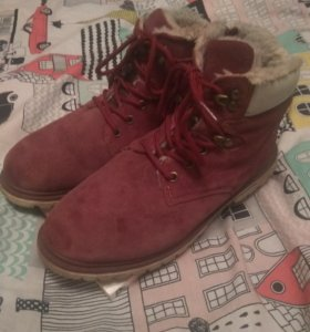 Замша зимние ботинки