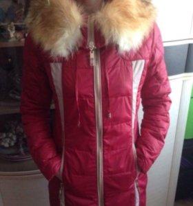 Куртка (пальто) пуховик с натуральным мехом р-р 44