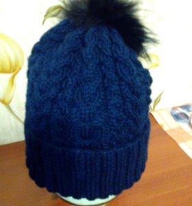 Шапка руч. вязка. р-р 54,56 цвет темно синий.