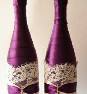 Свадебные украшения для бутылок