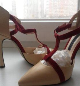 Бежевые туфли, р 37