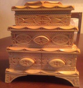 Шкатулка деревянная резьба, арт-объект в интерьер