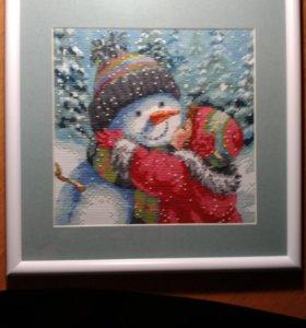 """""""Поцелуй снеговика"""" картина,вышитая крестиком"""