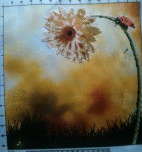 Картина,вышитая крестиком(частичная вышивка)