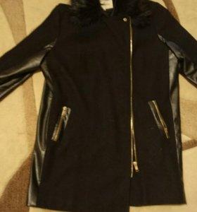 Пальто с кожаными вставками - куртка с чернобуркой