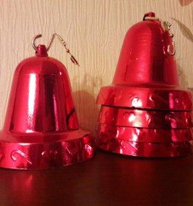 Новогоднее украшение колокольчик в наборе 4 шт