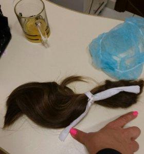 Натуральные волосы в срезе.Длина 30см.