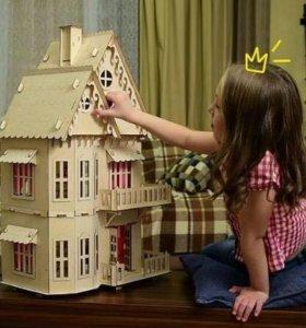Кукольный домик +6 наборов мебели,новый в упаковке