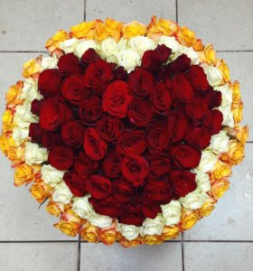 Букет в виде сердца 101 роза