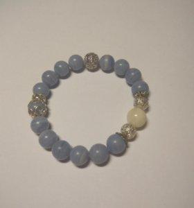 Браслет из нат. камней с ювелирным шаром хэндмейд