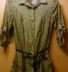 Блузка - туника, с цветочным принтом, 44