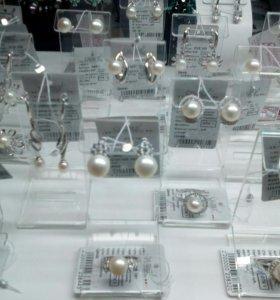 Кольцо серьги серебро925пр