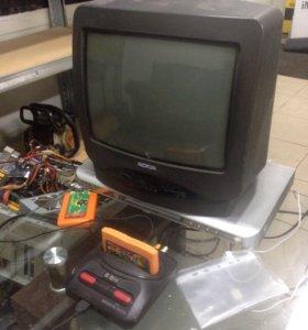 Телевизор, ДВД, приставка 8 бит