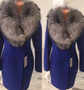 Пальто васильковое с любым мехом