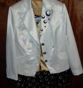 Костюм тройка;блузка ,юбка,пиджак